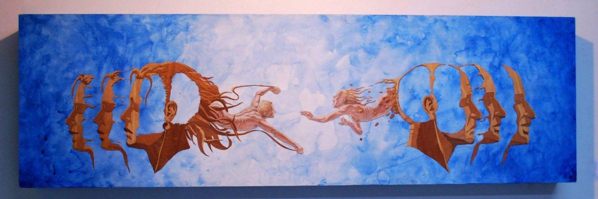 Reconciliación - 45x160 cm -Lápiz, acrílico y madera natural