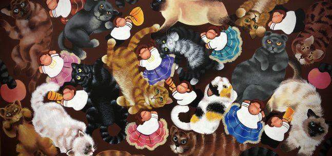 Amor gatuno - 150 x 120 cm.- Óleo sobre lienzo