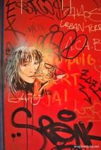 Cat and girl graffiti