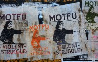 Violent struggle on the wall