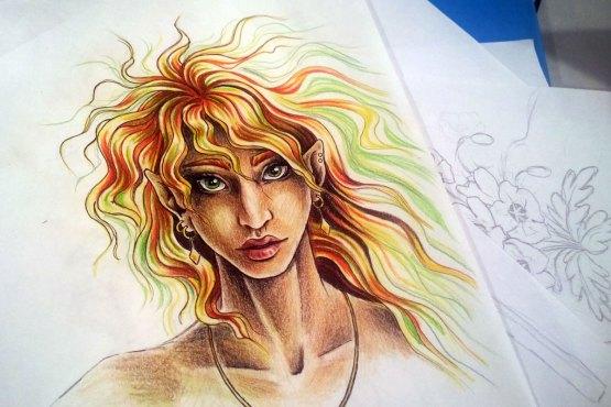 Imaginary Karin - green-eyed elf drawing