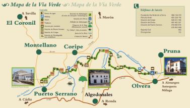 Gráfico de la Vía Verde de la Sierra. Setenil, que fue clave por razones militares en el trazado de esta línea férrea, está fuera del mapa.