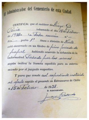Diego Gil Ruiz. Fusilado y enterrado en la fosa del cementerio de San José de Cádiz.