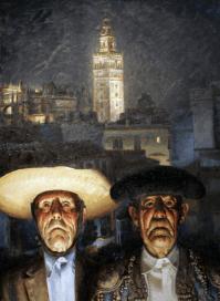 """""""Sevilla güena"""". Su inquietante visión del mundo del toreo, con la Giralda al fondo."""