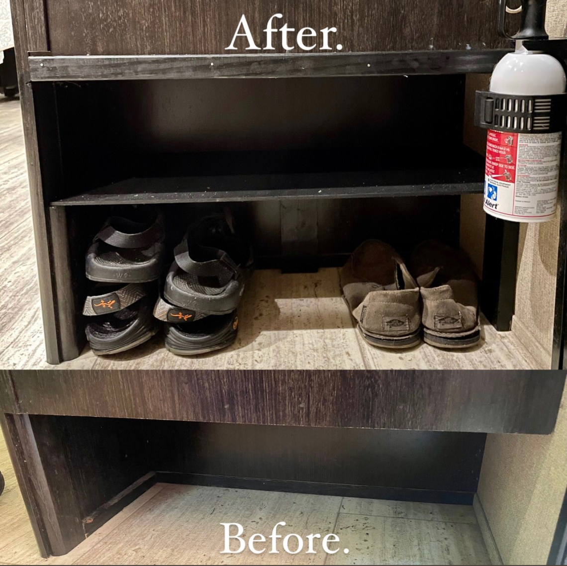 Before after shoe storage