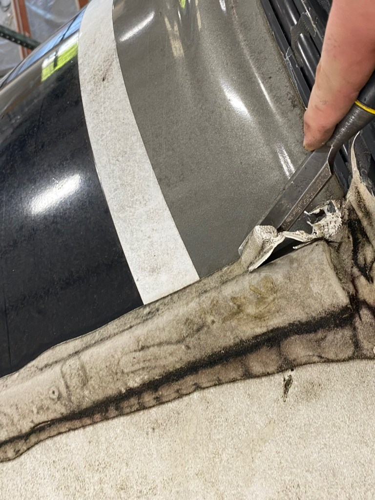 RV Roof Seal Removed for FlexArmor