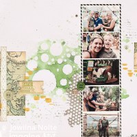 Scrapbooking with Stenciled Shades of Green