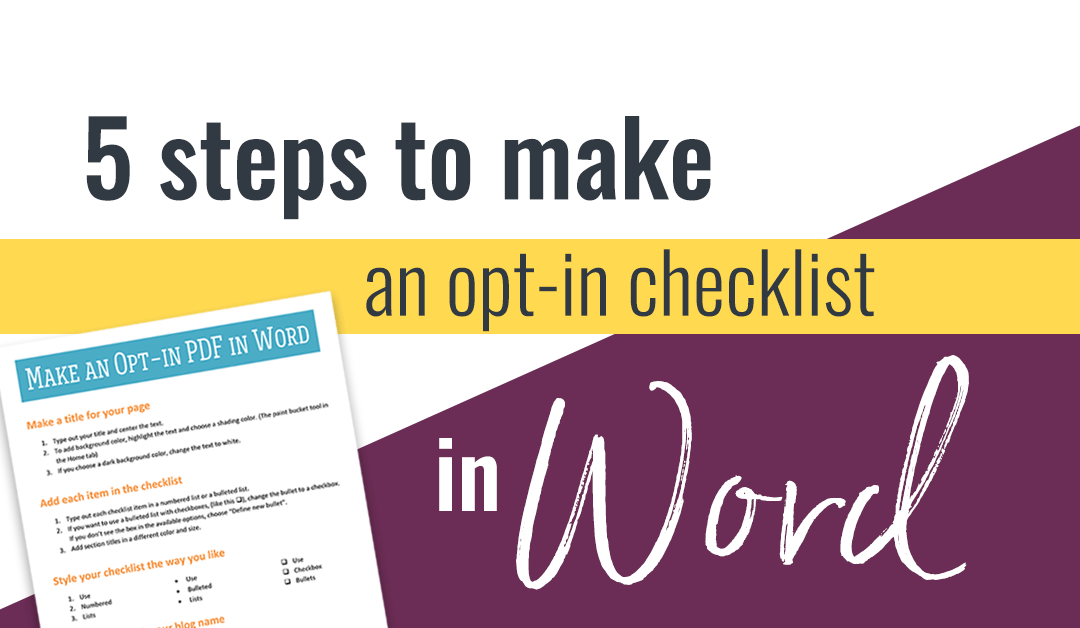 5 Steps to Make a PDF Checklist in Word