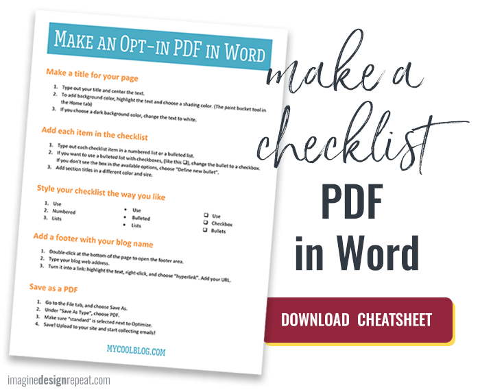 how to create a checklist in word