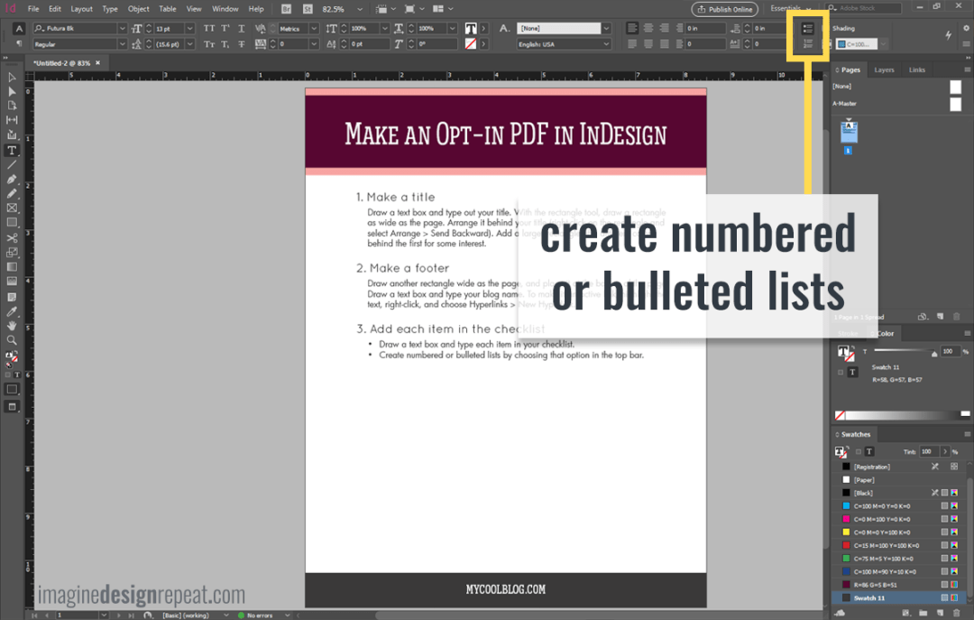 Checklist in InDesign | Imagine Design Repeat