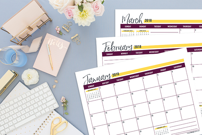 Want a free 2018 Calendar? I use this calendar for my project planning and would be lost without it!