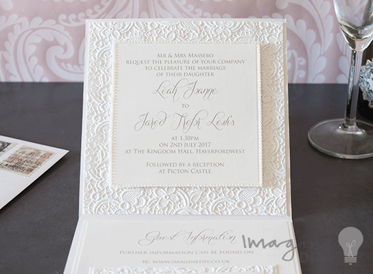 Embossed Card For Wedding Invitations: Luxury Lace Embossed Paper Snow White