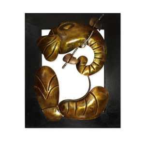 wooden ganesh wall art iron