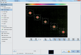 Figure 2: A screenshot of the beam analyser software showing spatial time slices of a focused CO2 laser beam in real time.