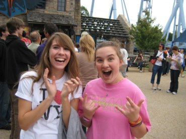Post-Griffon euphoria with my college roommate Melissa on William & Mary at Busch Gardens Day in Fall 2009.