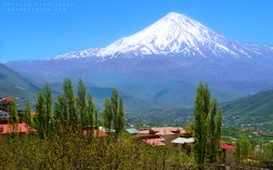Mount Damavand in the Alborz Mountain range, North of Tehran, Iran. Shot in May 2015. This is a composition of two shots, one from Mount Damavand and one from a village nearby.