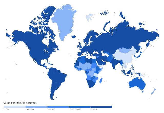 Mapa con la expansión del Coronavirus en México y en el Live World - miércoles 21 de julio de 2021