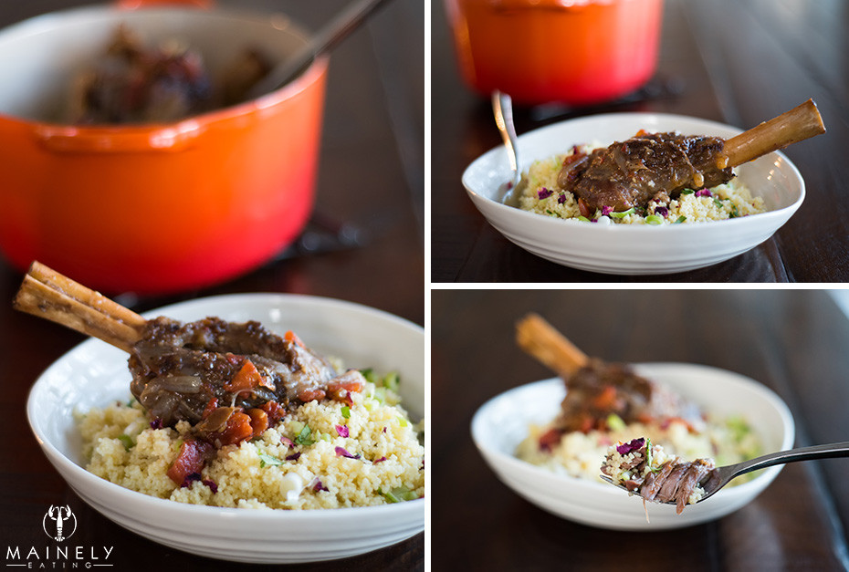 Lamb shank casserole with North African, Mediterranean, and Middle Eastern herbs and spices. So delicious!