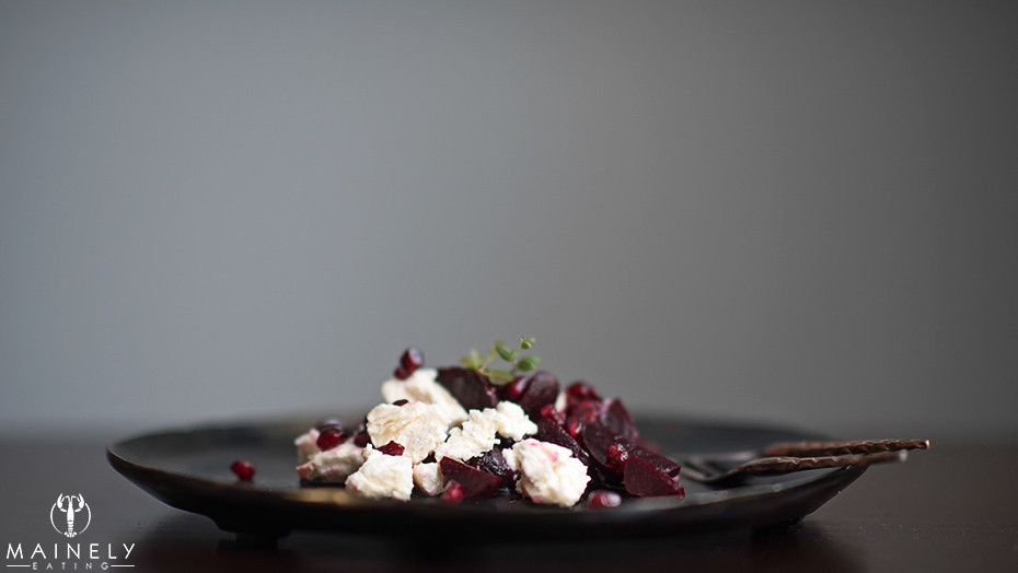 Simple salad of roast beets, Meredith Farm marinated cheese and pomegranate arils