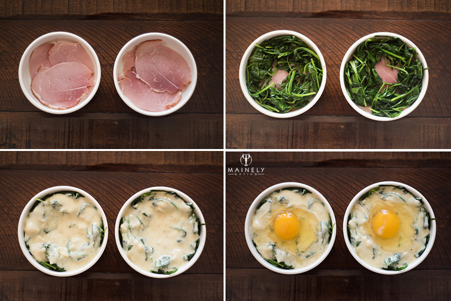 How to make eggs en cocotte with ham and spinach