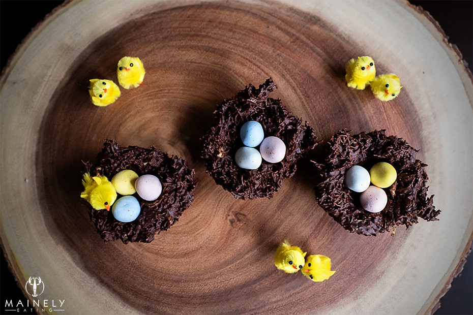 Quick and easy chocolate Easter nests with Cadbury's mini eggs