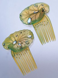 Ella Naper (1886-1972) - Lily-Pad Hair Combs. Green-Tinted Carved Horn and Moonstone. England. Circa 1906