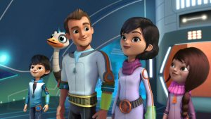 "MILES FROM TOMORROWLAND - Disney Junior's ""Miles from Tomorrowland,"" an intergalactic adventure series, blasts off FRIDAY FEBRUARY 6 on Disney Channel (9:00 a.m., ET/PT). Launching with four back-to-back episodes, it incorporates unique space and science facts into the storylines that chart the outer space missions of young adventurer Miles Callisto and his family as they help connect the galaxy on behalf of the Tomorrowland Transit Authority. (Disney Junior) MILES, MERC, LEO, PHOEBE, LORETTA"