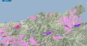 山陰海岸ジオパークの地質図(花崗岩)