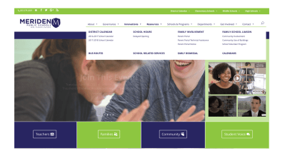 Meriden School District Home Page highlighting menu