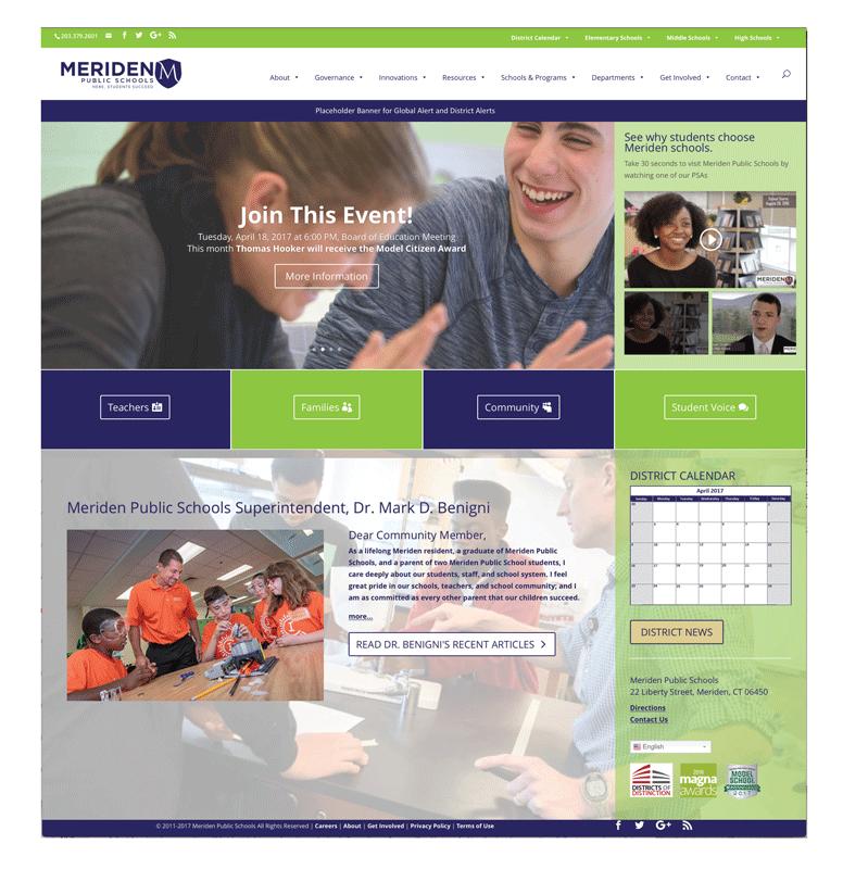 Meriden School District Website Home Page