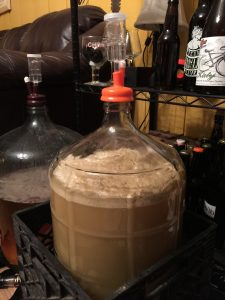 The carboy on the right is the brett saison. Brett cider on the left.