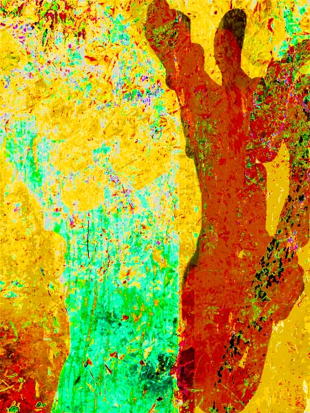 ochre-colored figure on yellow background