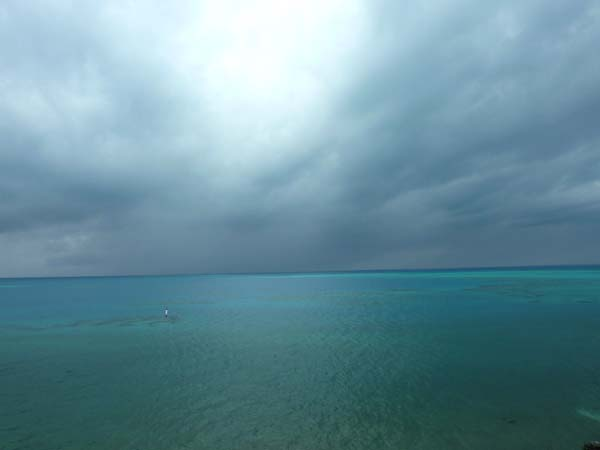 Atlantic Ocean atmospherics with clouds and turquoise sea