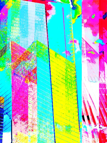 colorful painting of World Trade Center