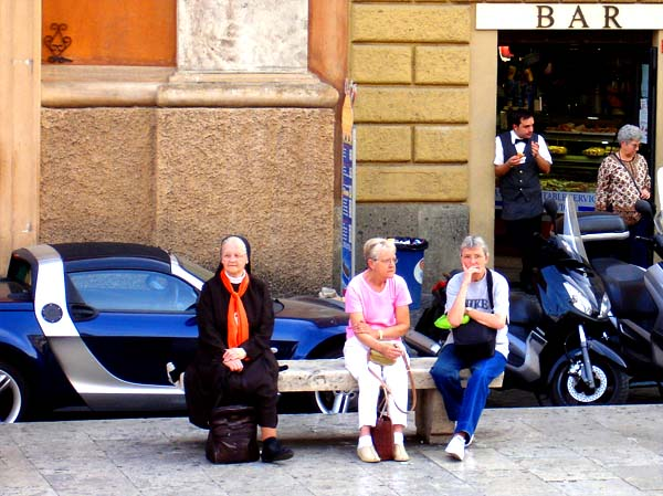 Catholic nun in Rome with sportscar