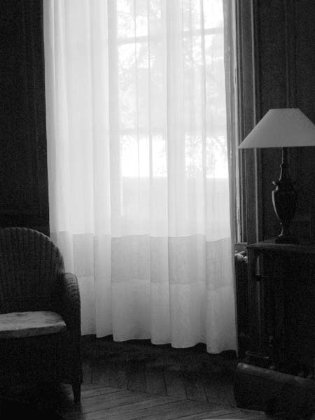black and white photo of room with diffused light