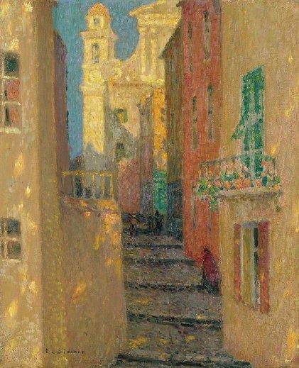 Hendi Le Sidaner, La Rue de l'Église, Villefranche-sur-Mer, 1928, Madrid, musée Thyssen-Bornemisza
