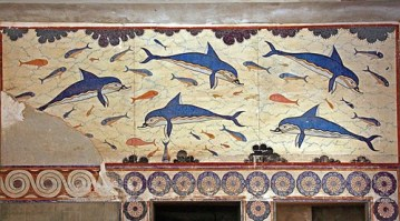 """""""Dolphin Fresco"""" from the Palace of Knossos, Crete; Late Minoan I, ca. 1600-1425 BC."""
