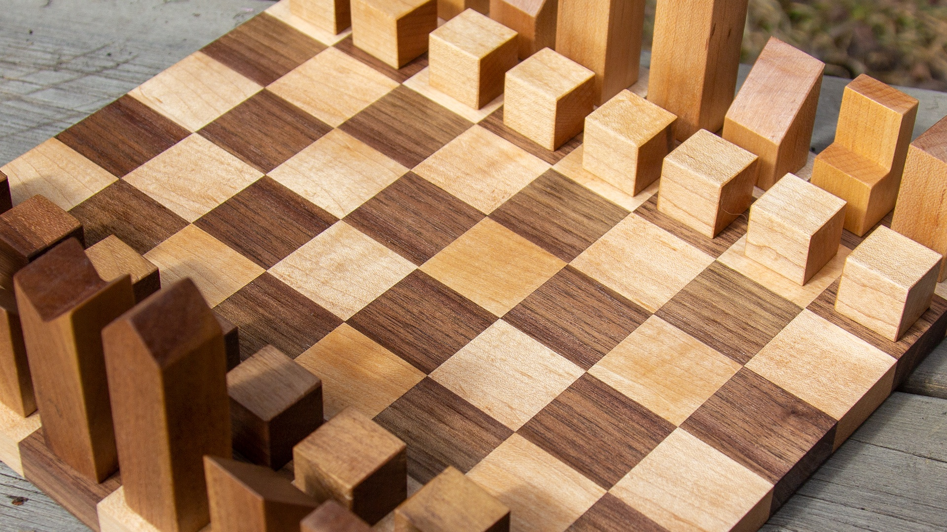 Modern wooden chessboard made from maple and walnut