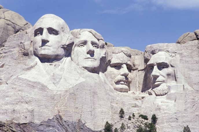 Close-up shot of Mount Rushmore