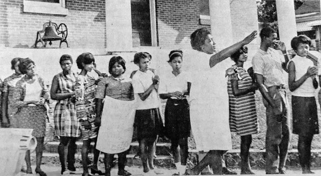 Ada Singleton Ford directs children boycotting school in a fight to end segregation in Anson County, North Carolina.