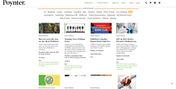 Screenshot of course offerings from Poynter's NewsU