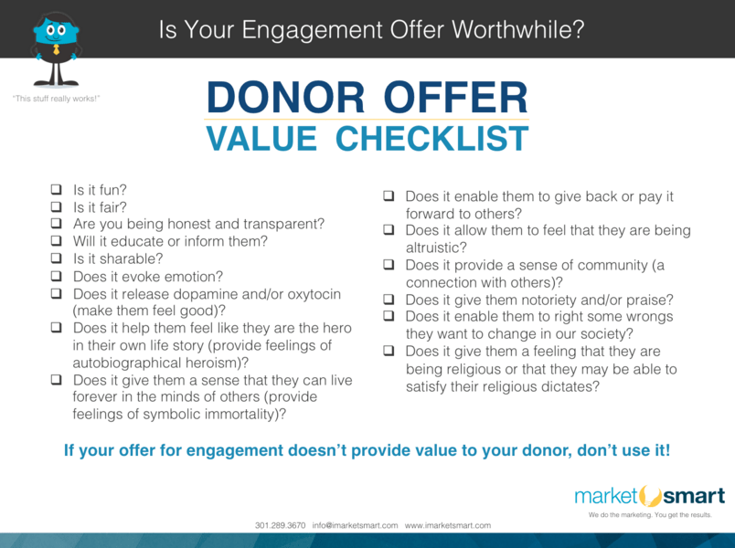 checklist for offering donor value