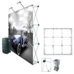 Imágen de un pop-up con los elementos que lo componen: estructura, bolsa, maleta de transporte y gráfica.