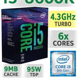 Processador INTEl i5-8600K 9MB 6C6T 3