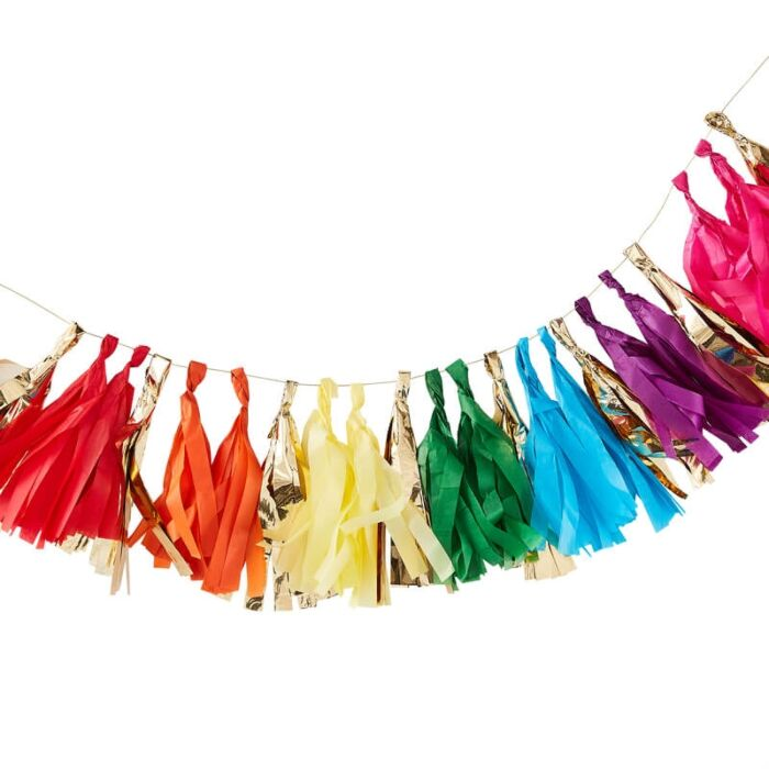 Guirnalda tassel colores tonos arcoiris