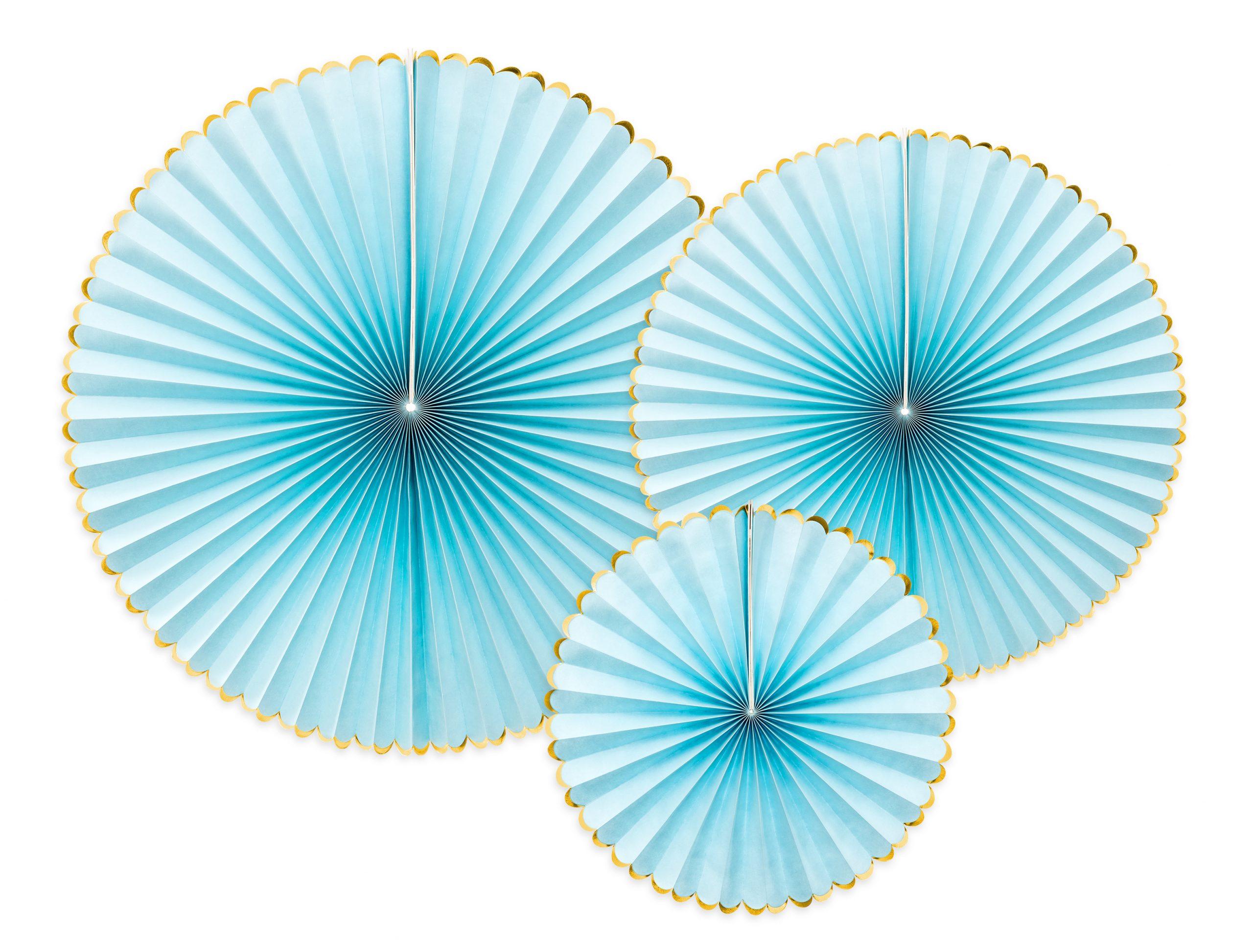 Abanicos de papel azul