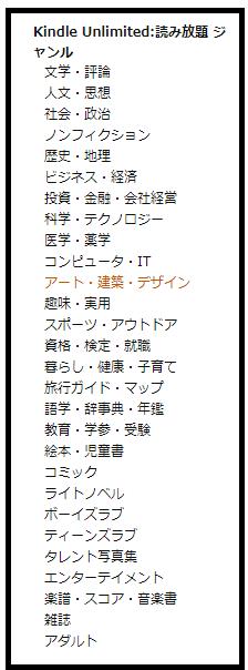 """alt""""Kindle Unlimitedで読める書籍のジャンル"""""""