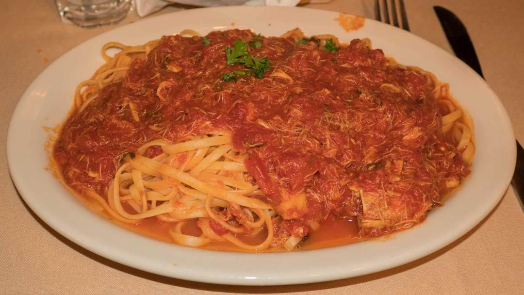 Crab Marinara over linguine at Sabatino's in Little Italy Baltimore