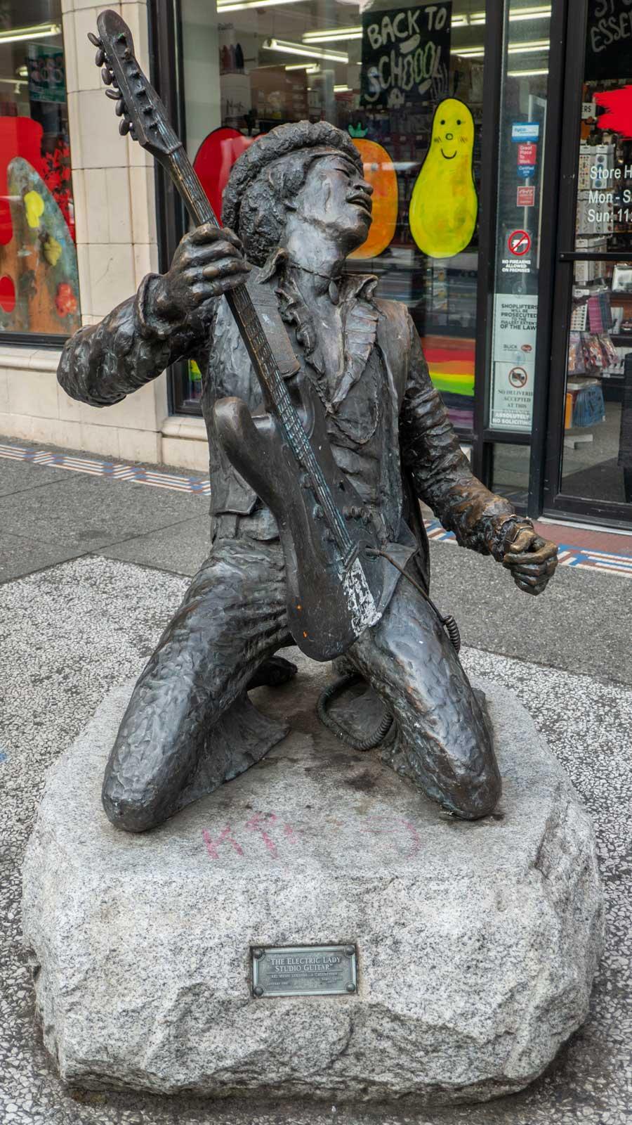 Jimi Hendrix statue in Capitol Hill Seattle Washington